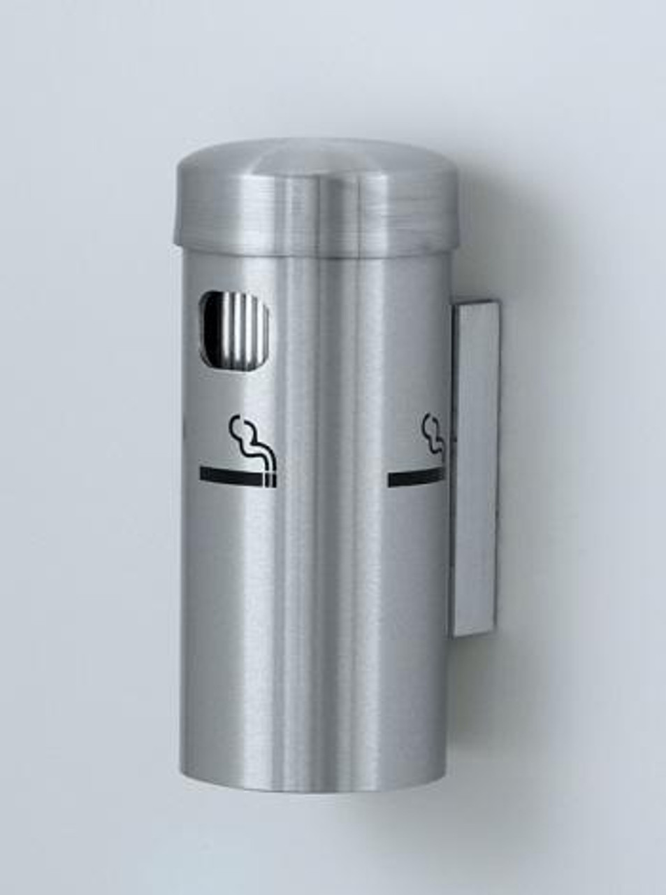 4400 Wall Mount Metal Deluxe Smokers Cigarette Receptacle Ashtray Satin Aluminum