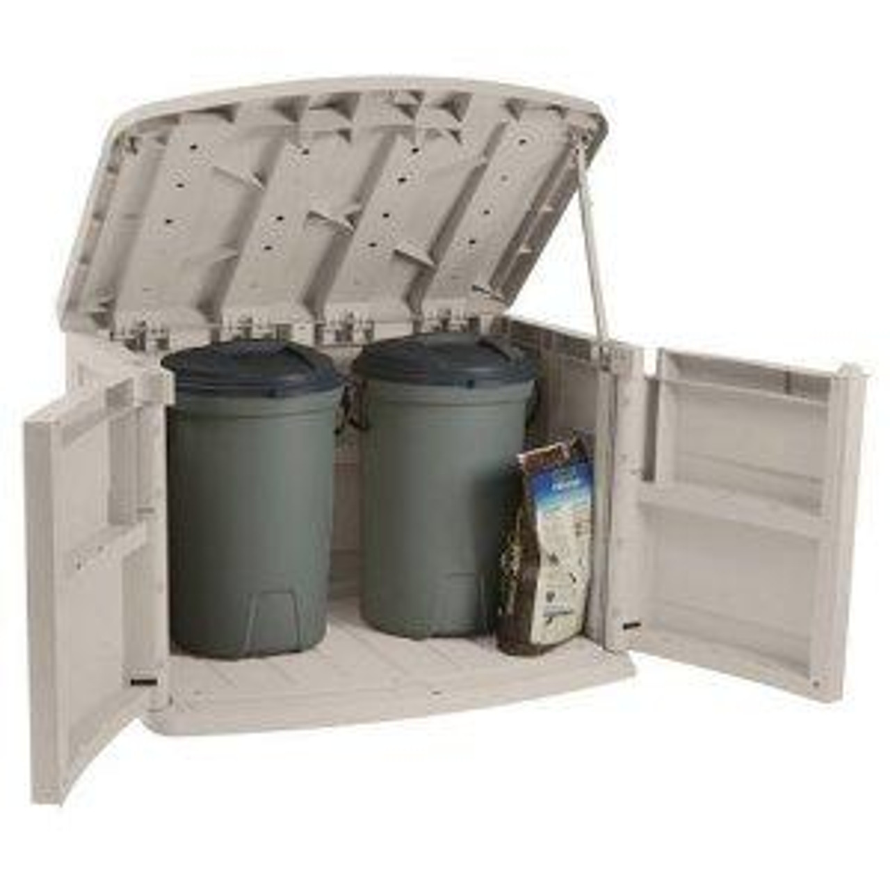 Horizontal Trash Can Storage Shed Garbage Can Hide Away