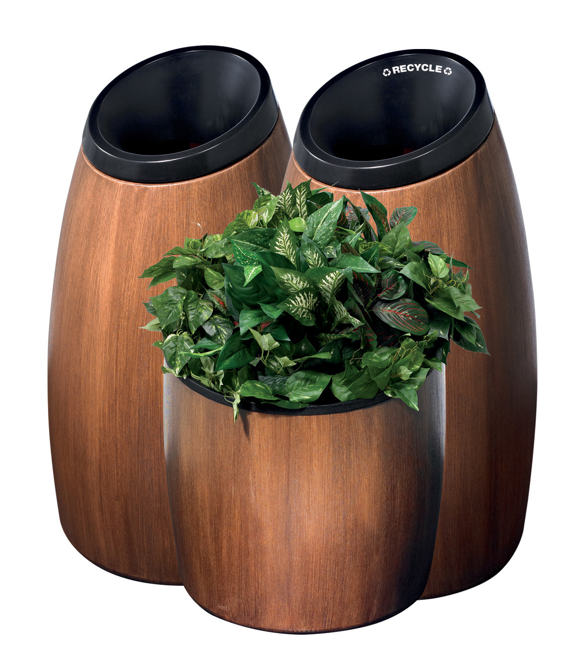 Trash Can, Recycle Bin, and Planter