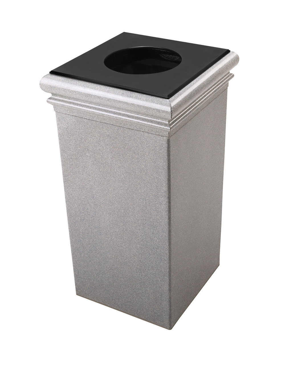 30 Gallon StoneTec Concrete Fiberglass Decorative Trash Can Ashstone