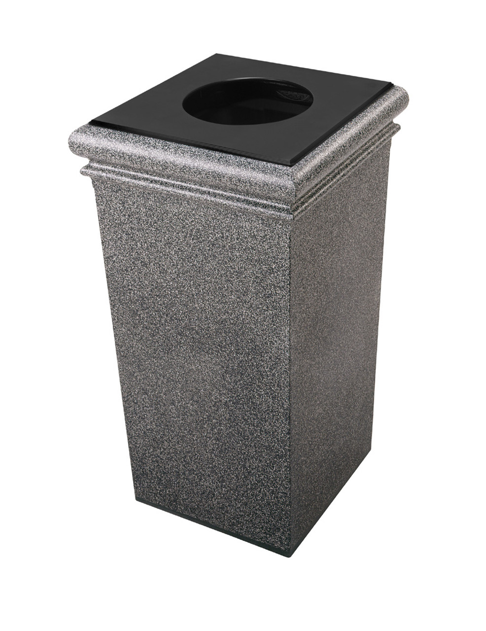 30 Gallon StoneTec Concrete Fiberglass Decorative Trash Can Pepperstone