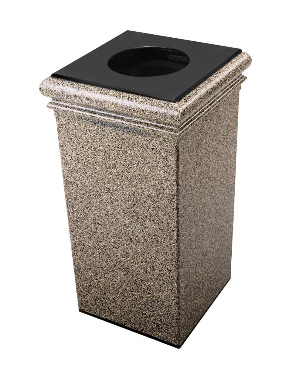 30 Gallon StoneTec Concrete Fiberglass Decorative Trash Can Riverstone