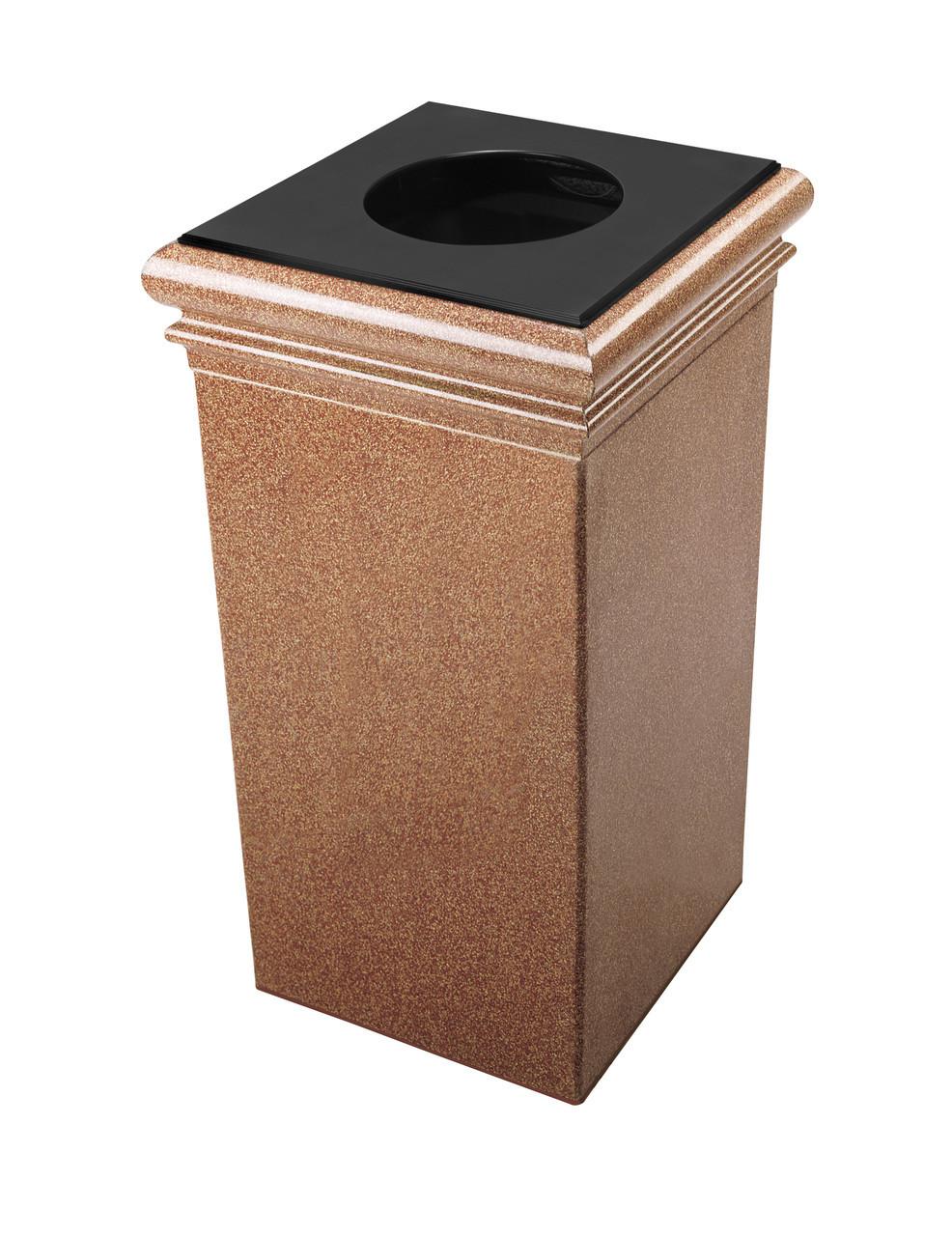 30 Gallon StoneTec Concrete Fiberglass Decorative Trash Can Sedona