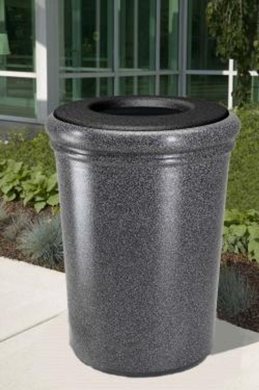 50 Gallon StoneTec Concrete Fiberglass Decorative Trash Can Outside