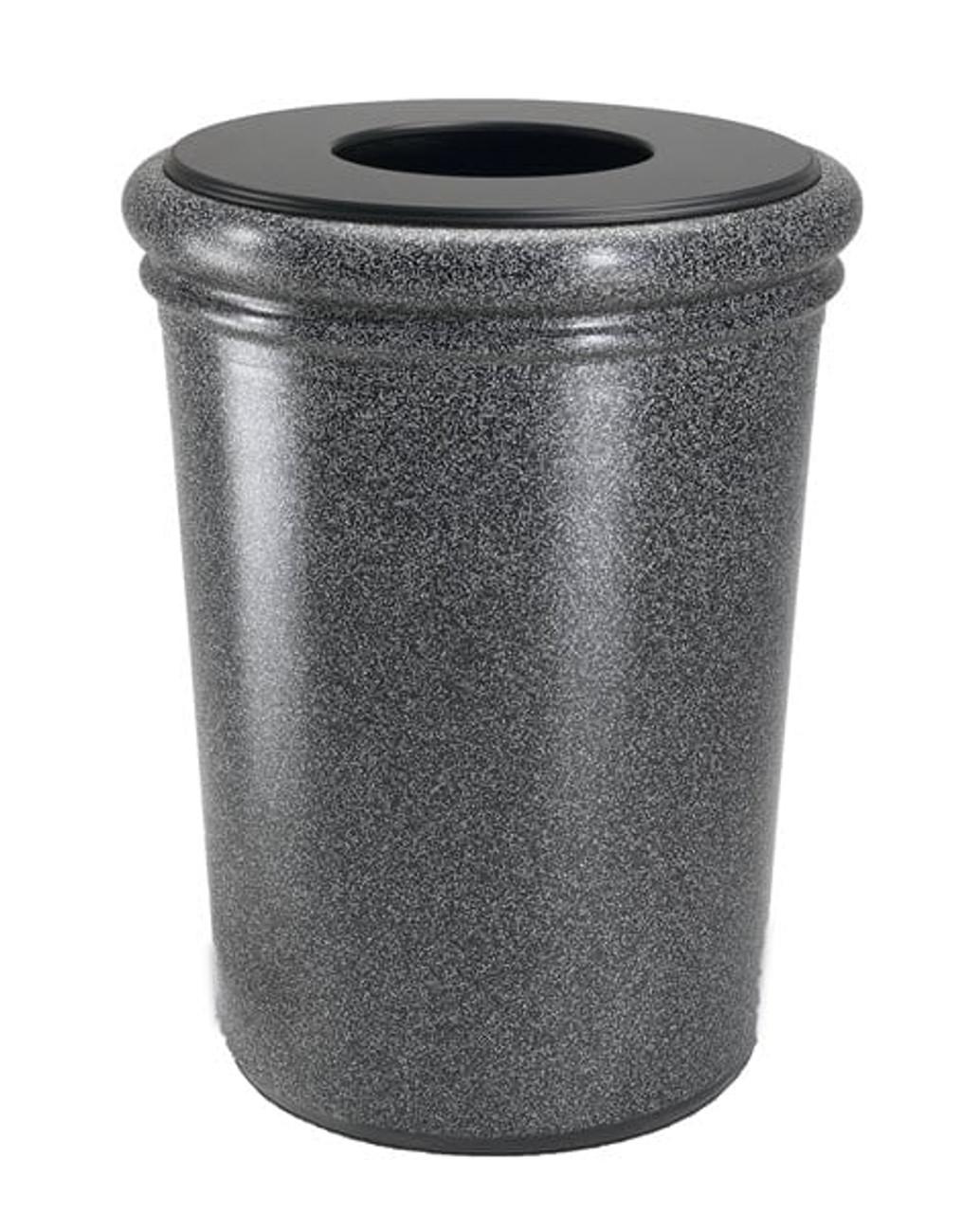50 Gallon StoneTec Concrete Fiberglass Decorative Trash Can Pepperstone