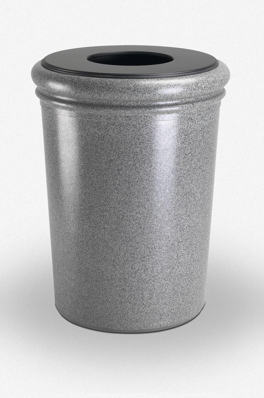 50 Gallon StoneTec Concrete Fiberglass Decorative Trash Can Ashstone