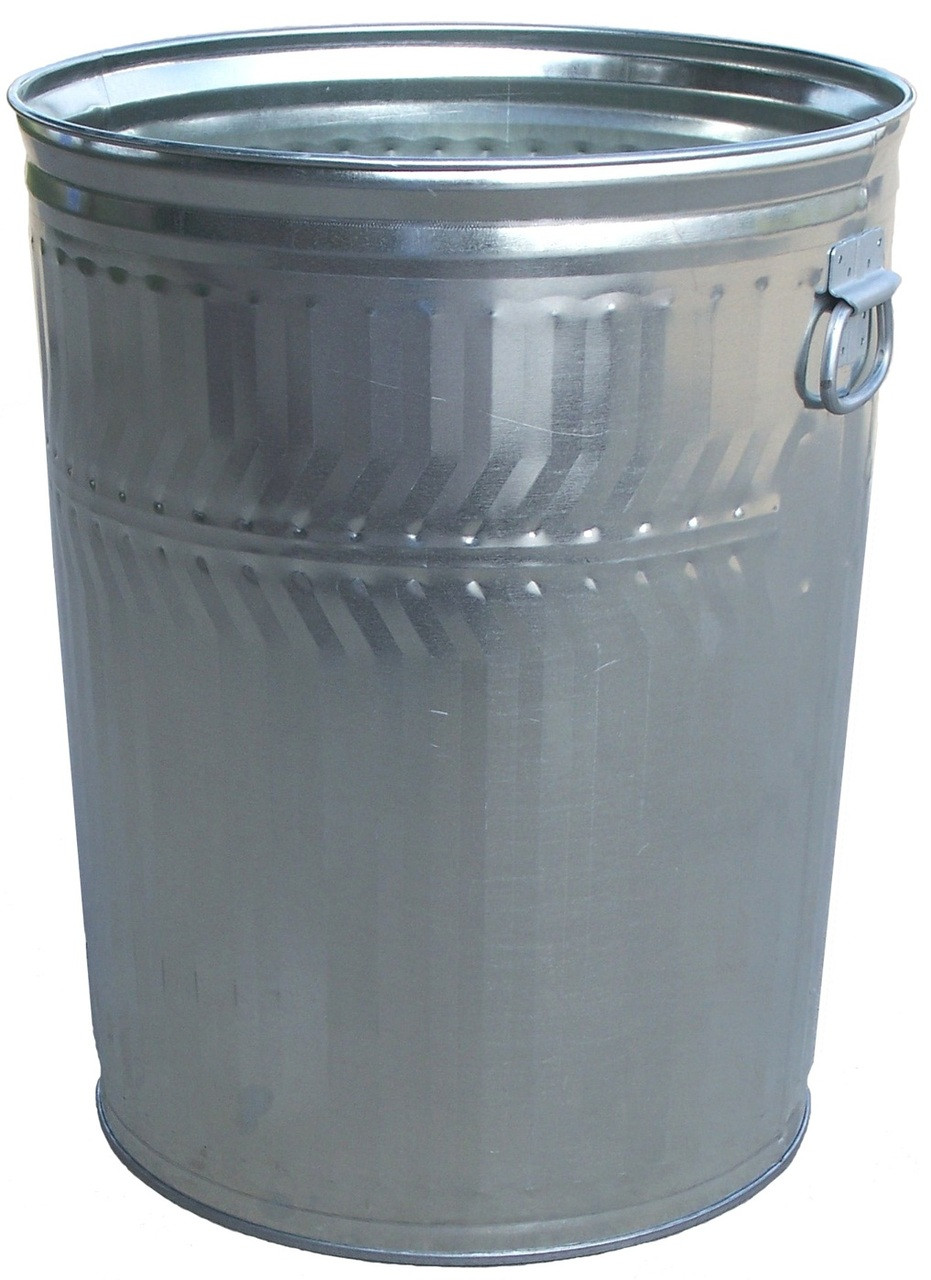 32 Gallon Heavy Duty Galvanized Trash Can with Optional Lid WHD32C