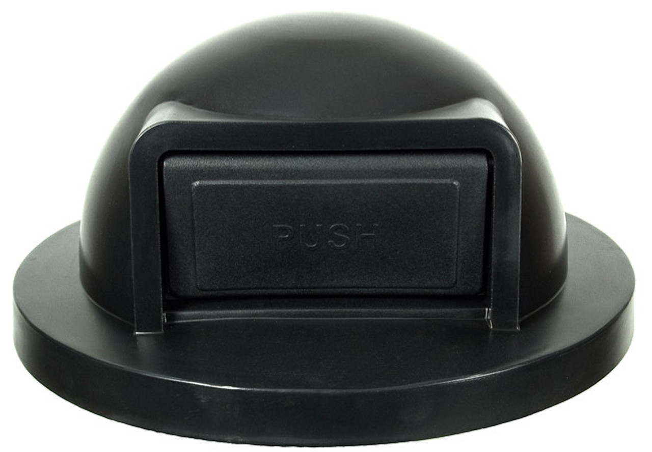 24.75 Inch Black Push Door Plastic Lid for Steel Drum Trash Cans SC55DT