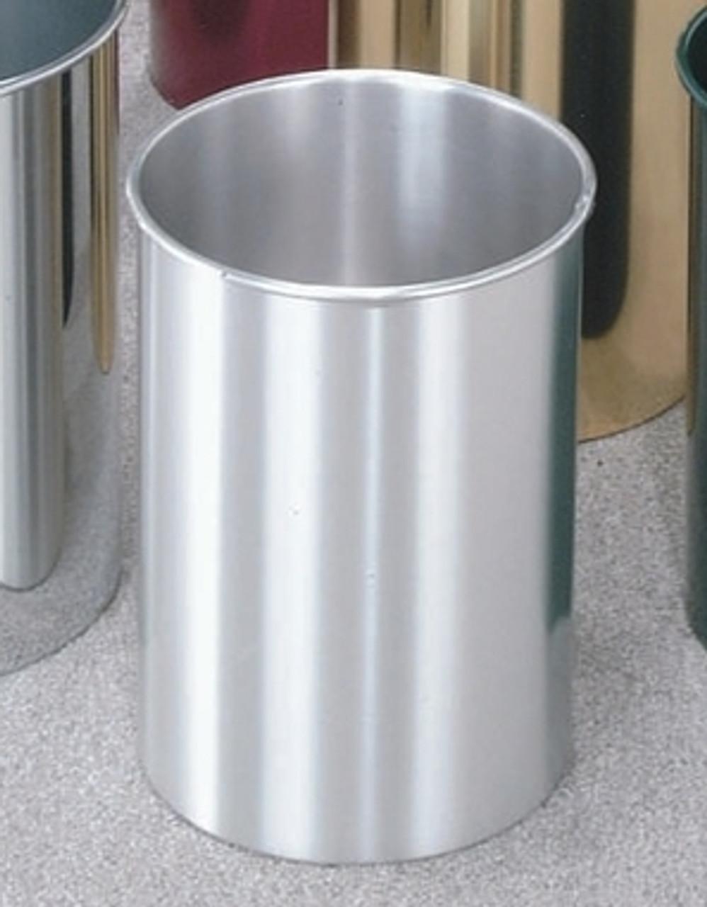 5 Gallon 10 x 15 Open Top Home Office Wastebasket Satin Aluminum