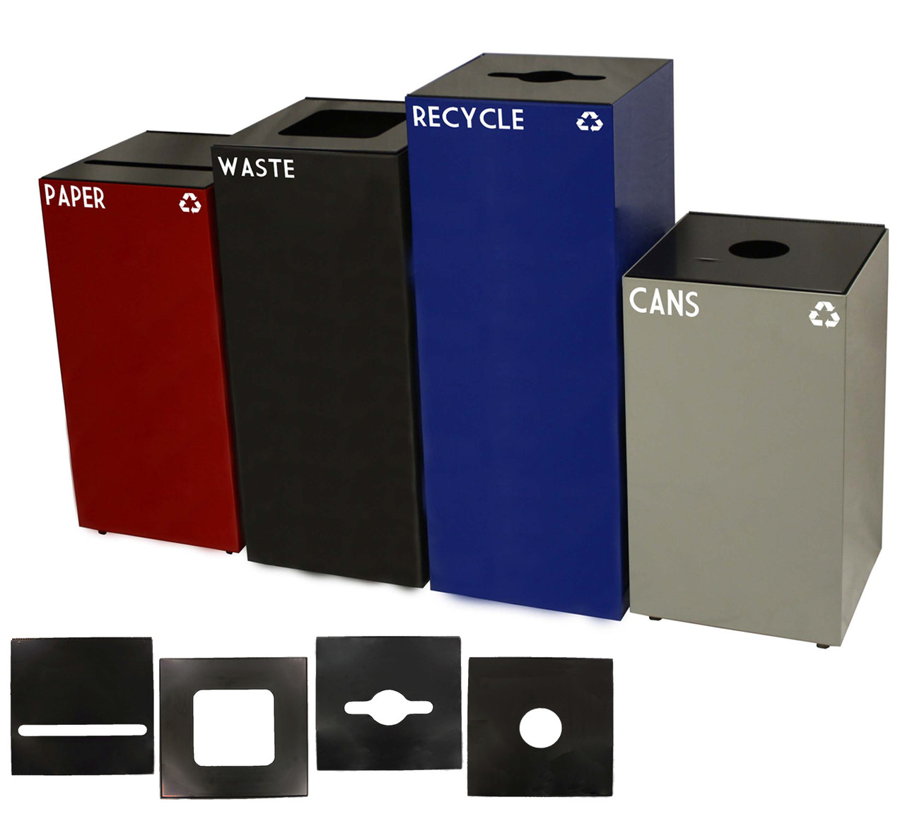 Geocube Group Shot of 4 Sizes with Available Lids