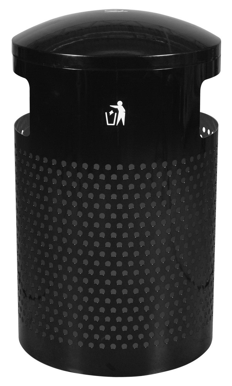 Landscape Series Perforated 40 Gallon Outdoor Park Trash Receptacle Side View