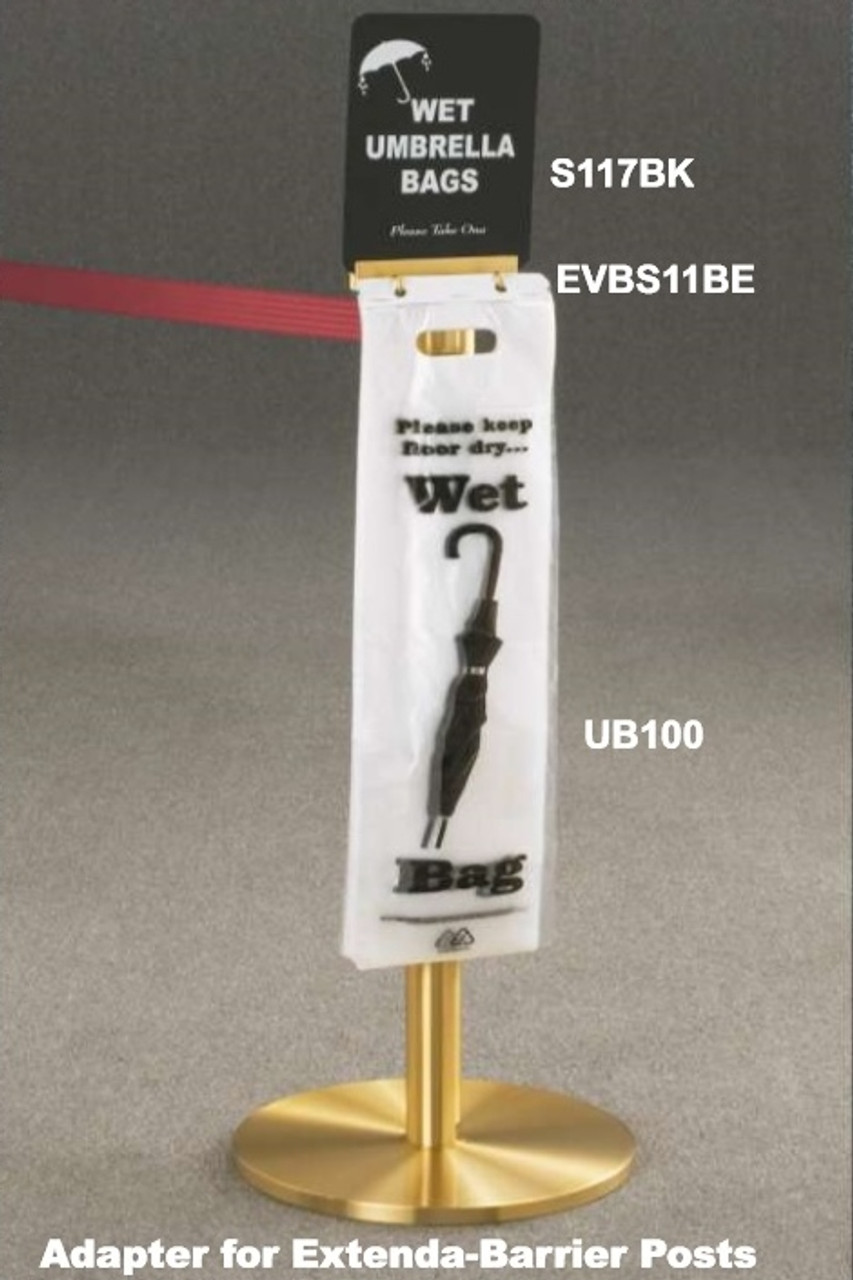 Shown in Satin Brass with 7 Foot Extend A Barrier, Umbrella Bags, Sign Adapter and Umbrella Sign
