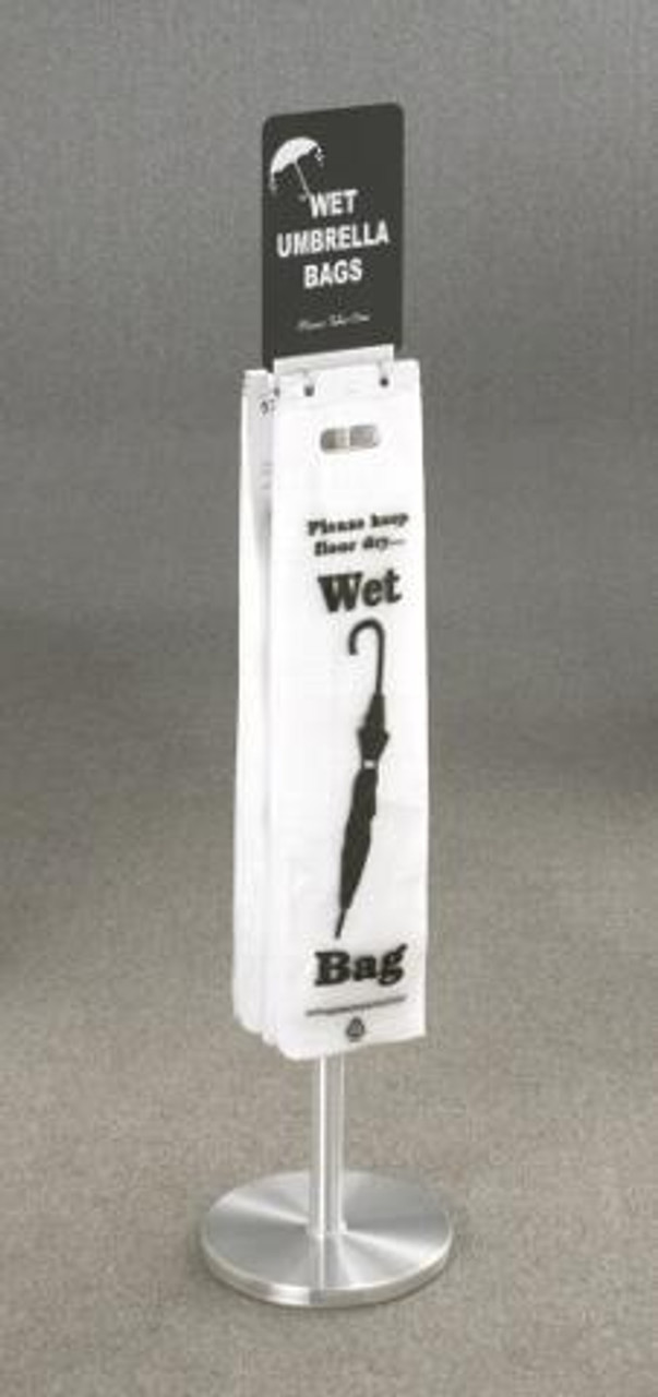 Glaro Floor Standing Wet Umbrella Bag Holder Satin Aluminum