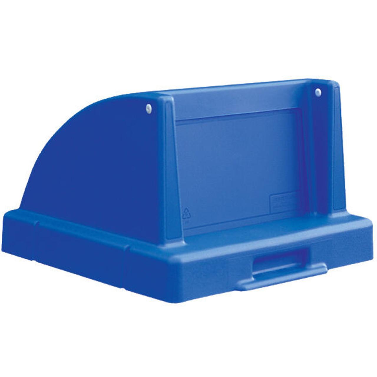 30 Gallon Square Push Door Lid Blue