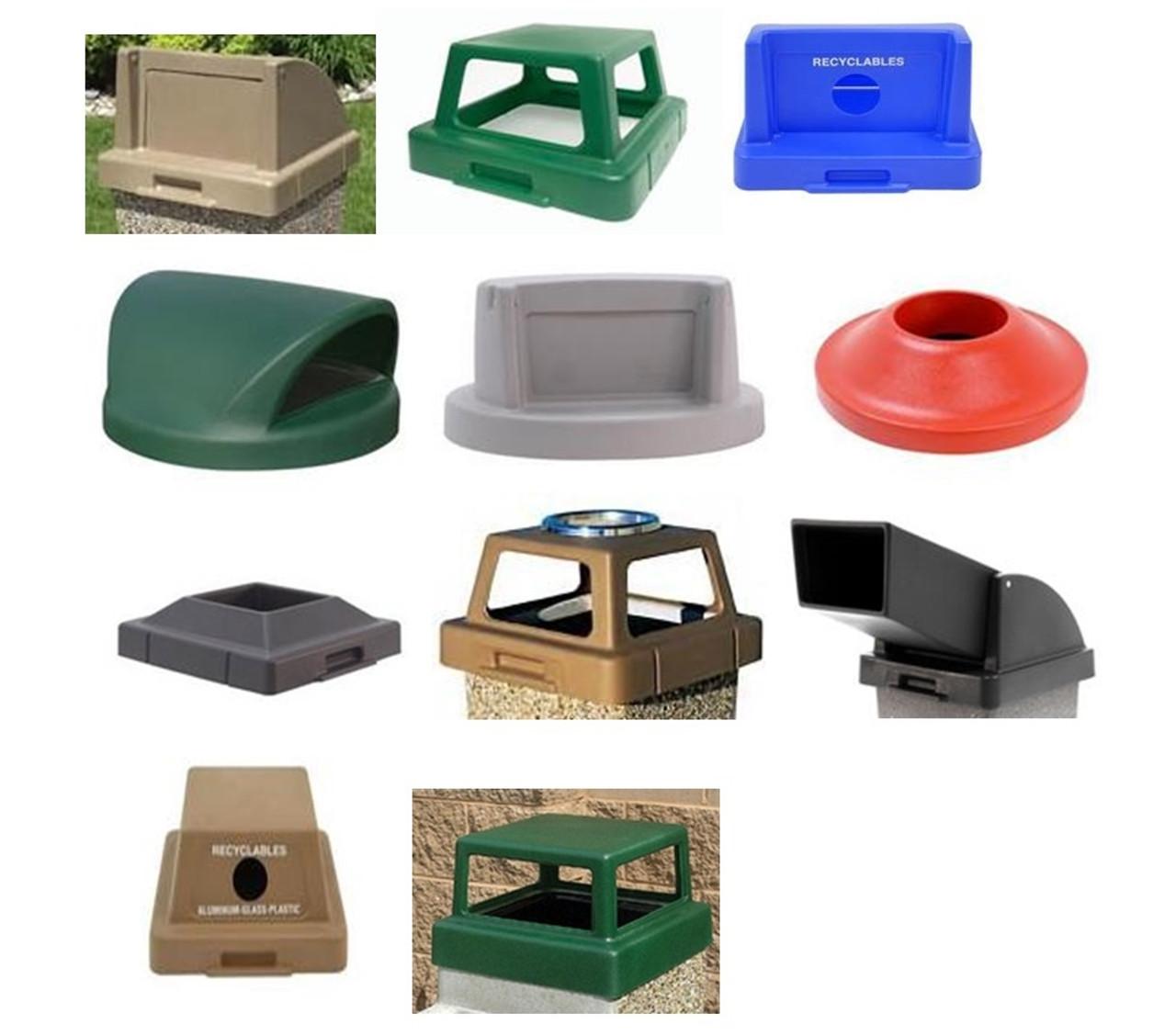 30 Gallon and 53 Gallon Plastic Lids Concrete Trash Cans Square & Round TFLIDS