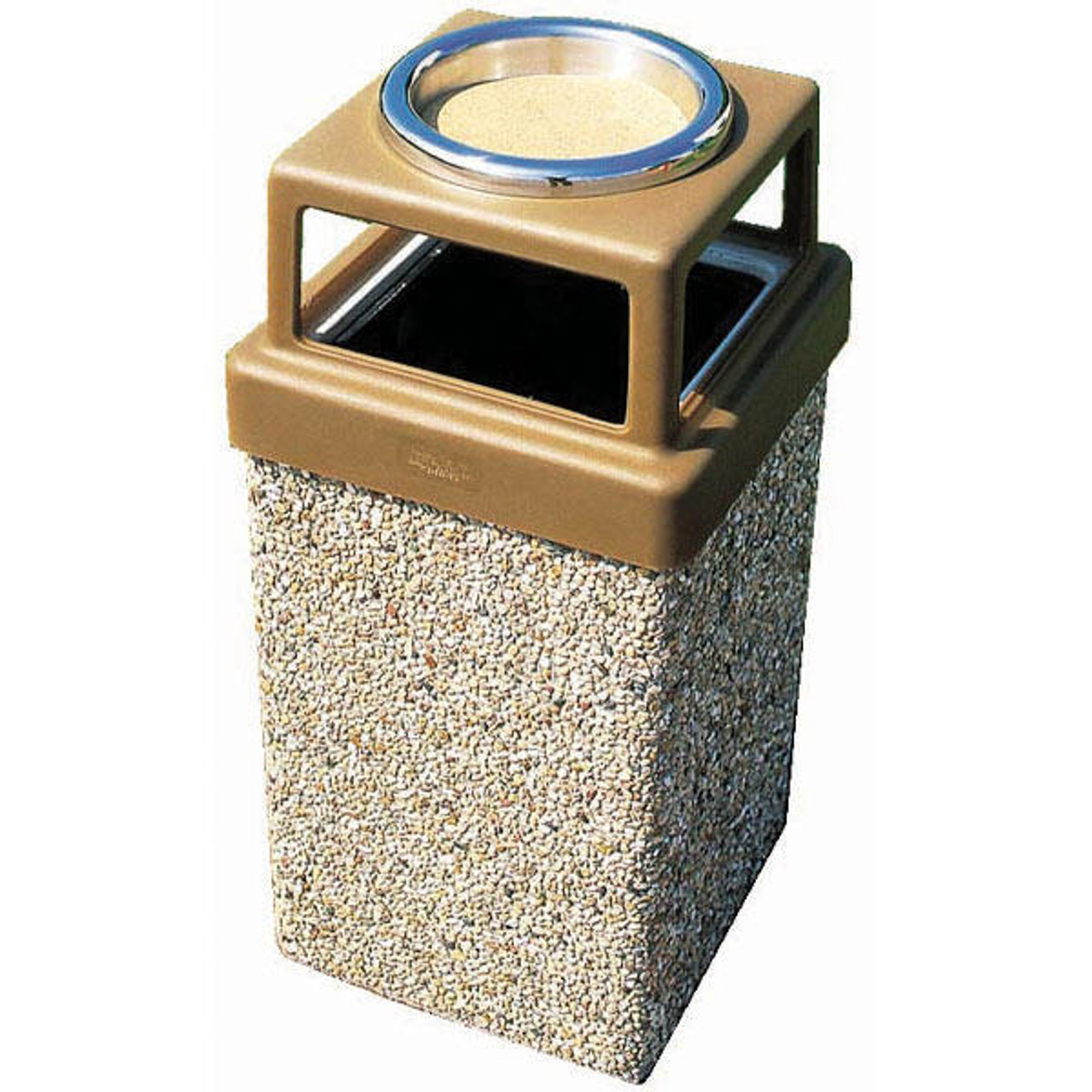 10 Gallon Concrete Outdoor Ash Trash Waste Container TF1006 Exposed Aggregate