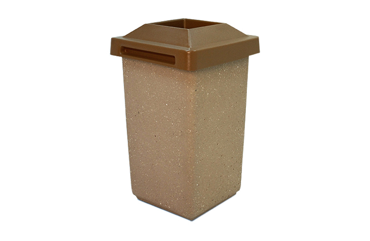 30 Gallon Concrete Pitch In Top Outdoor Waste Container TF1010 Weatherstone Sand