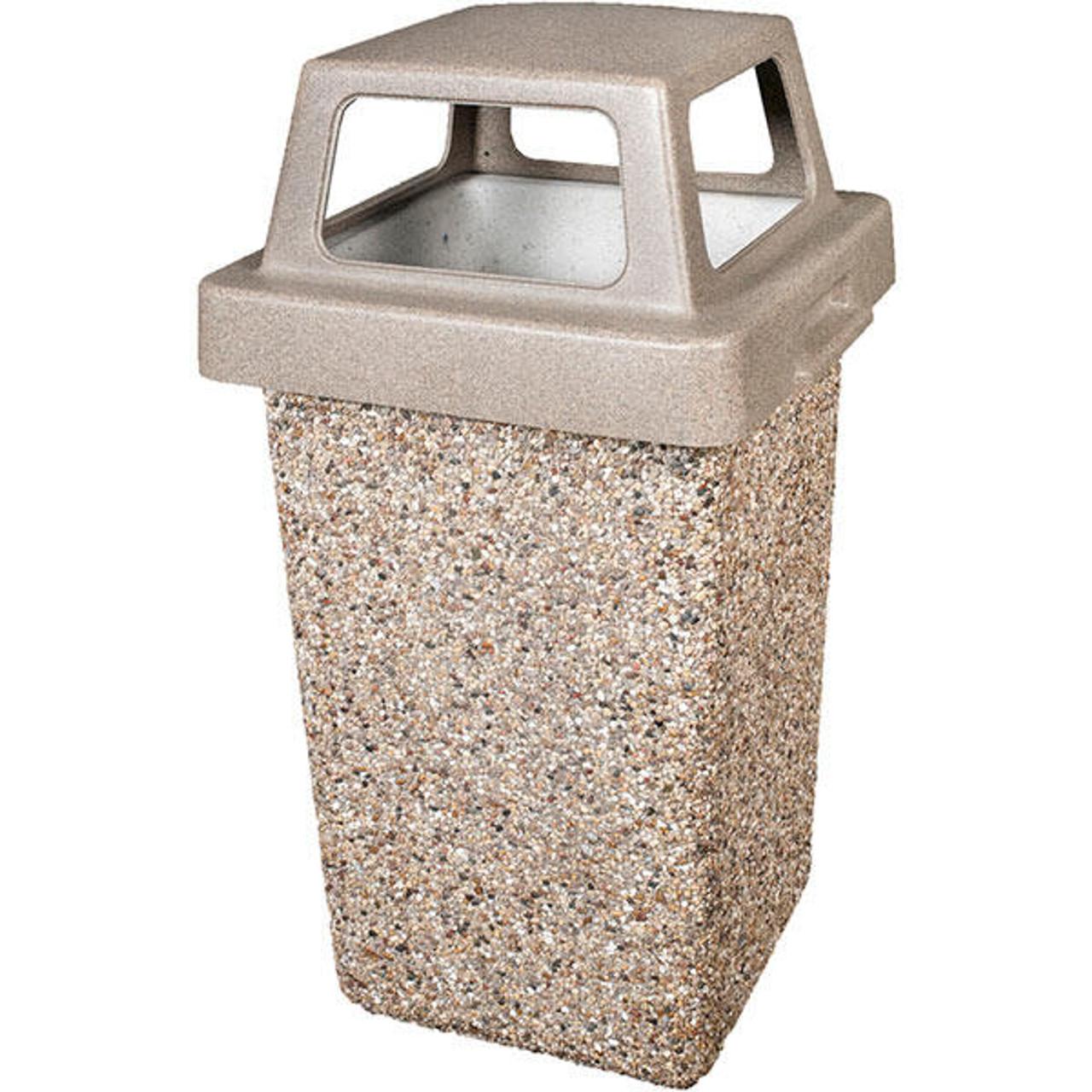 30 Gallon Concrete 4 Way Open Top Outdoor Trash can TF1016 Exposed Aggregate