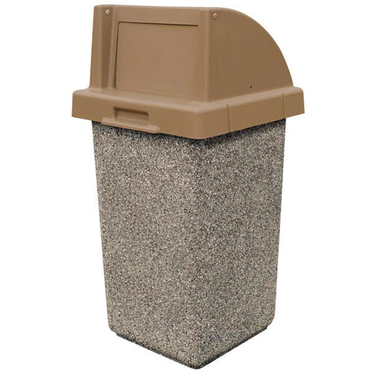 30 Gallon Concrete Push Door Top Outdoor Waste Container TF1015 Exposed Aggregate Tan (Gray) E23