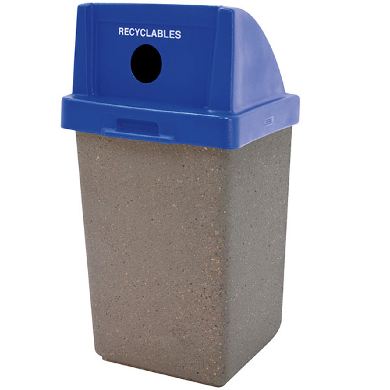 30 Gallon Concrete Recycling Top Outdoor Waste Receptacle TF1028 Weatherstone