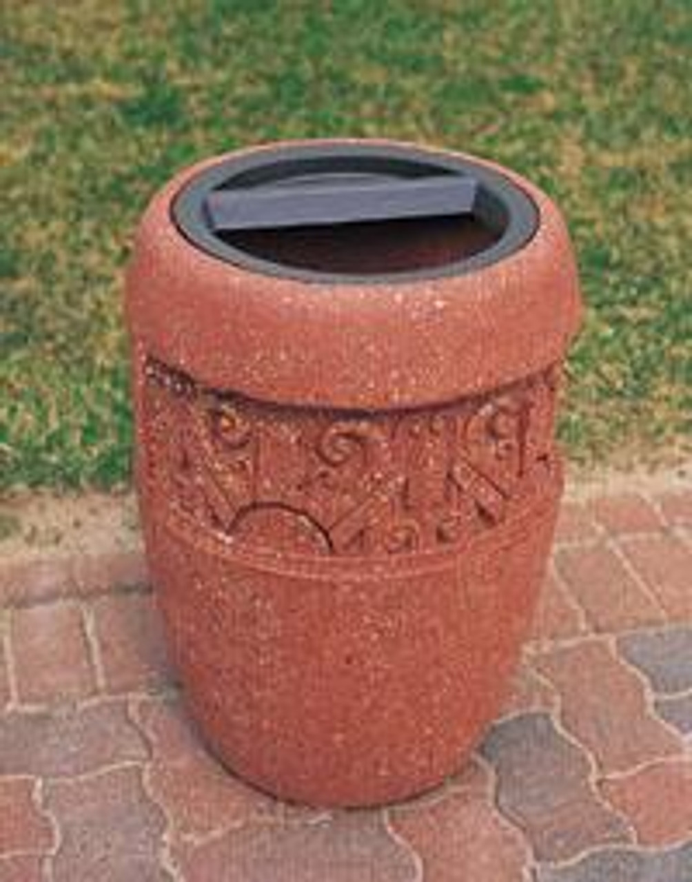 9 Gallon Concrete Ash Trash Top Outdoor Waste Container TF2059 Weatherstone Brick Red