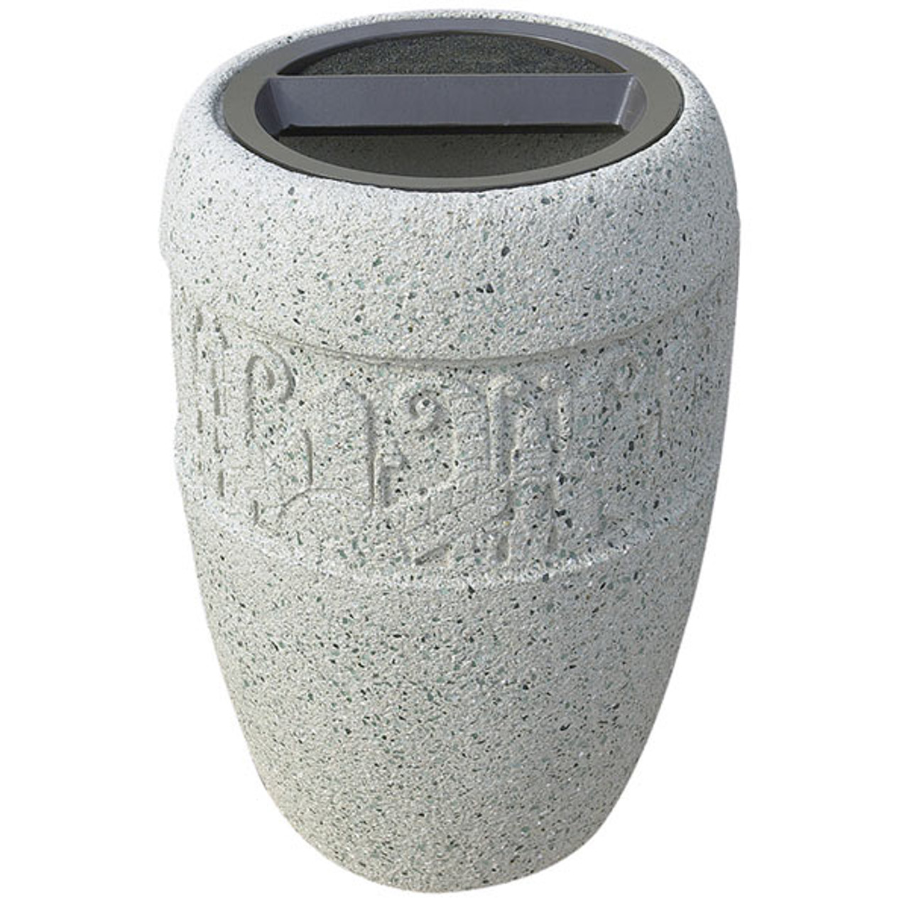 9 Gallon Concrete Ash Trash Top Outdoor Waste Container TF2059 Weatherstone White
