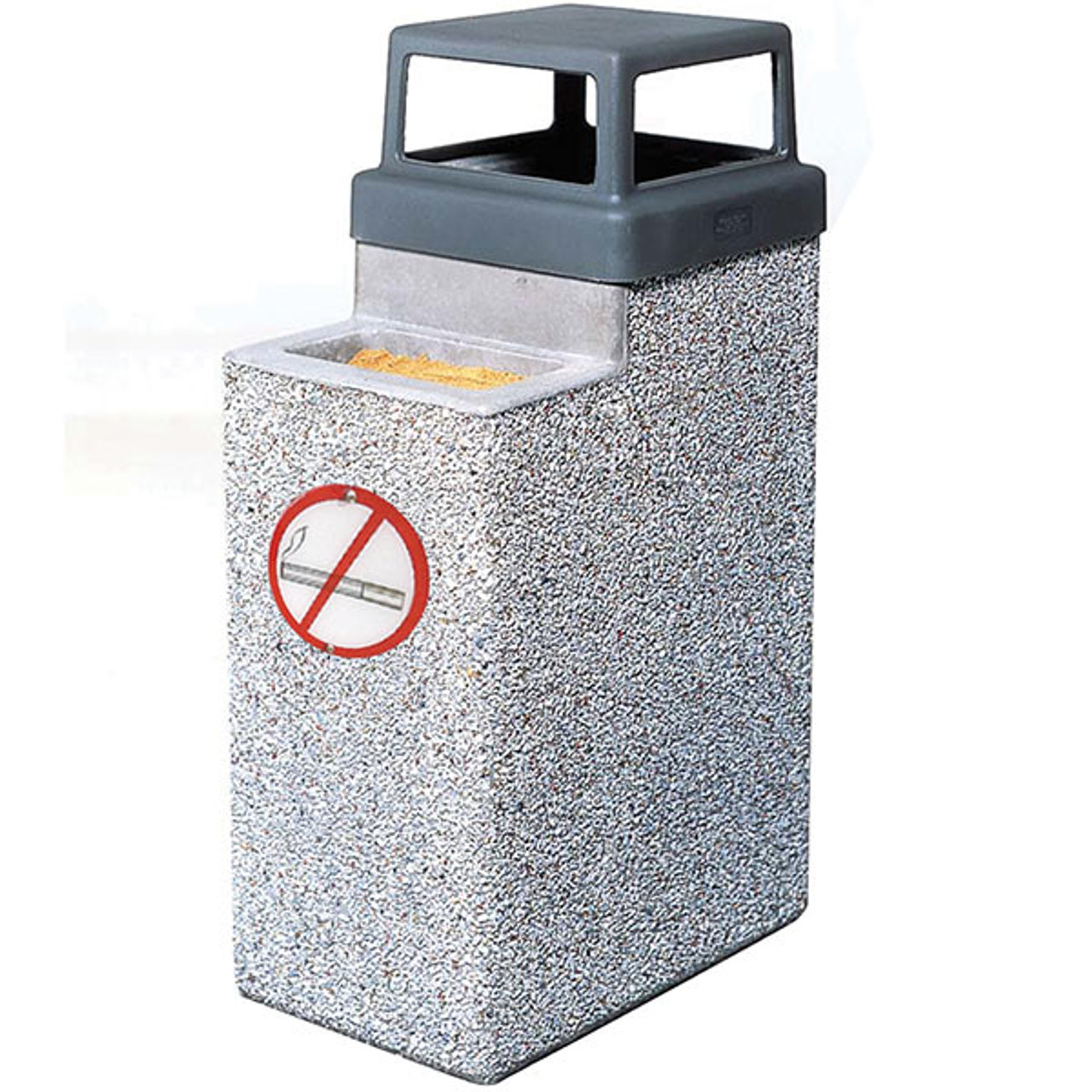 10 Gallon Concrete Ash Trash Outdoor Waste Container TF2075 with Logo