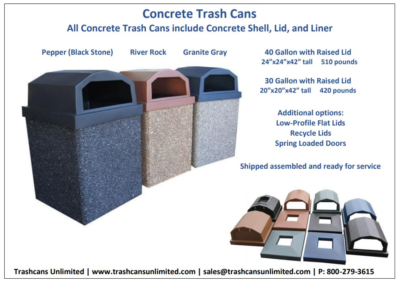 Concrete Trash Containers