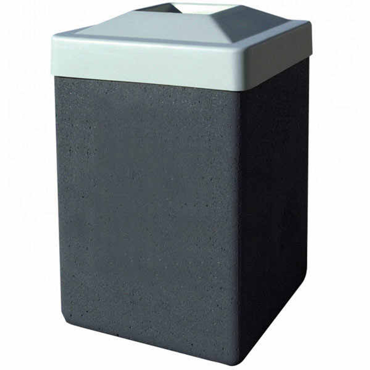 53 Gallon Concrete Pitch In Top Outdoor Waste Container TF1025 Wethaerstone Charcoal