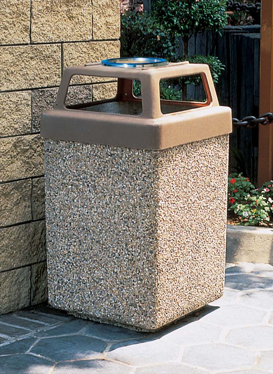 53 Gallon Concrete 4 Way Open Top Outdoor Waste Container TF1040 Exposed Aggregate A1 with Optional Lid Ashtray