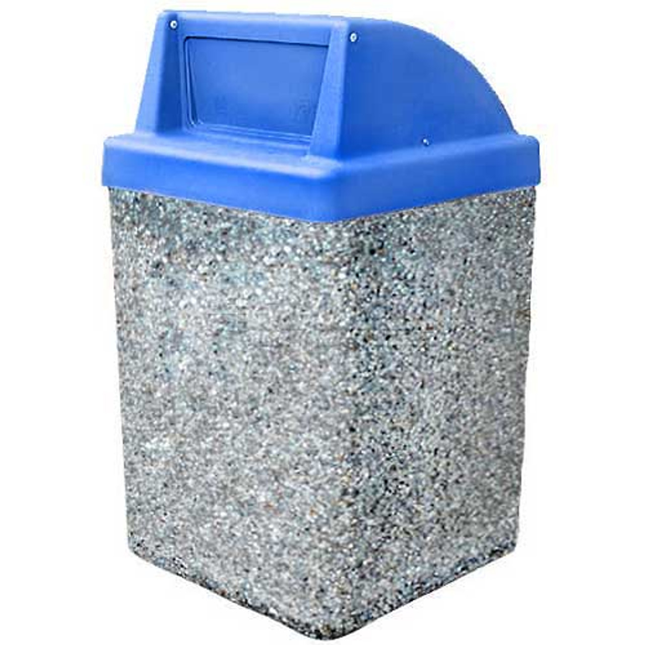 53 Gallon Concrete Push Door Dome Top Outdoor Waste Container TF1030 Exposed
