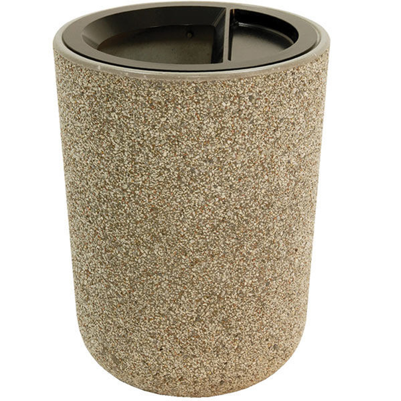 31 Gallon Concrete Ash Trash Top Outdoor Waste Container TF1086 TF1086 Exposed Aggregate