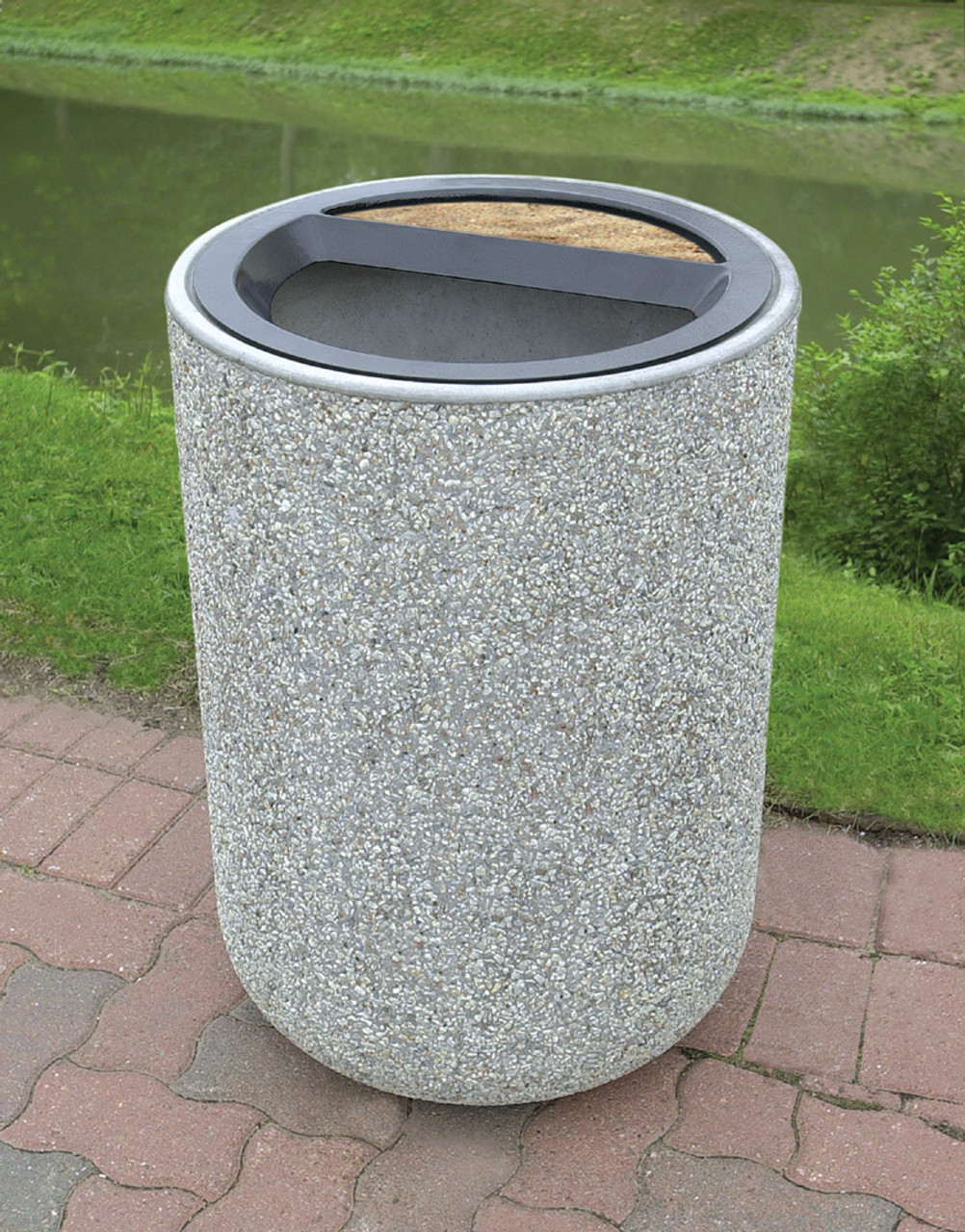 31 Gallon Concrete Ash Trash Top Outdoor Waste Container TF1086 Exposed Aggregate