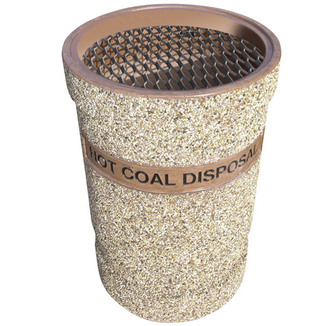 41 Gallon Concrete Hot Coal Disposal Outdoor Waste Container TF1131 Exposed Aggregate
