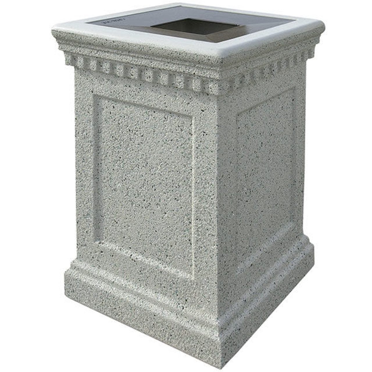 24 Gallon Concrete Pitch In Top Outdoor Waste Container TF1022 Weatherstone Gray