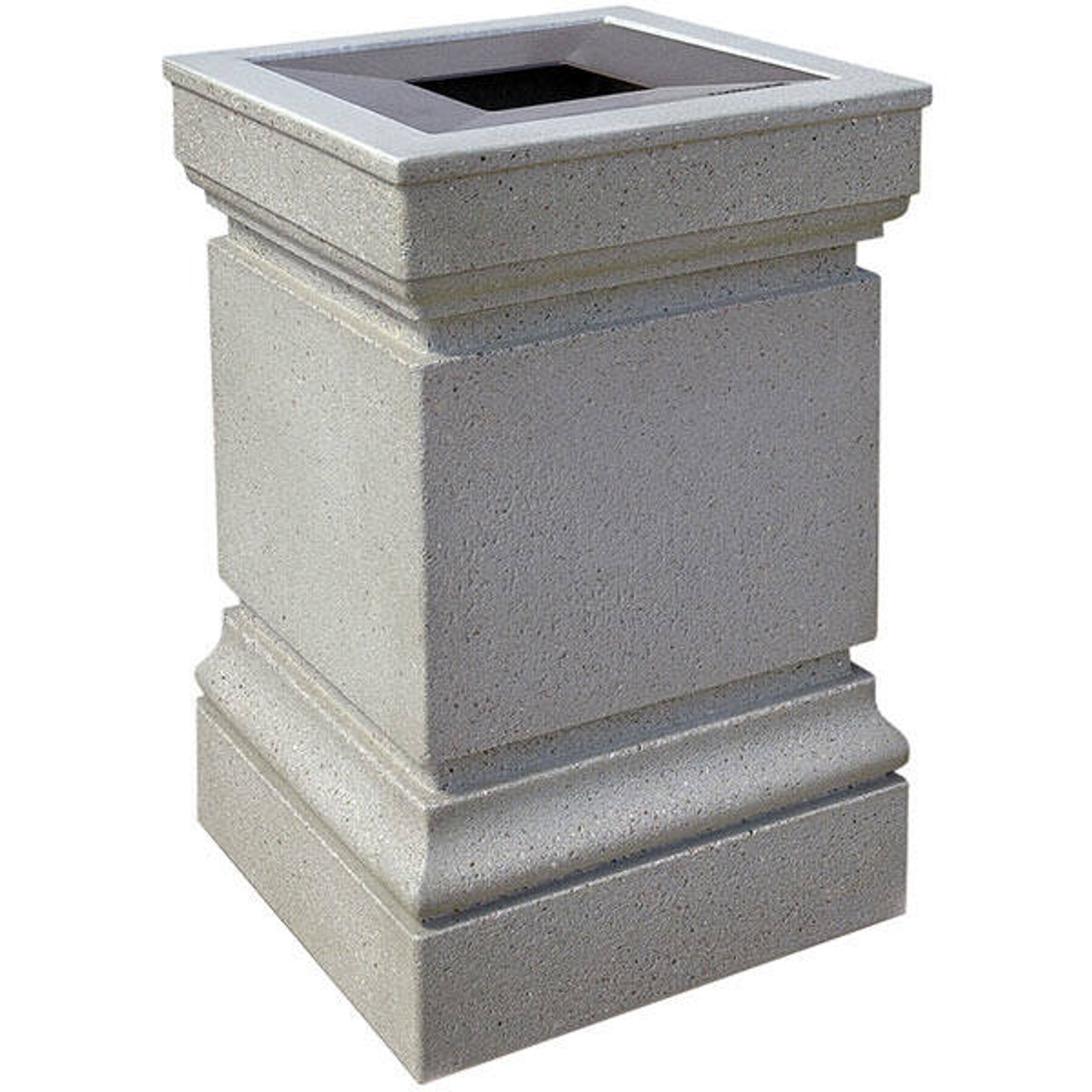 24 Gallon Cartier Concrete Pitch In Top Outdoor Waste Container WS1043