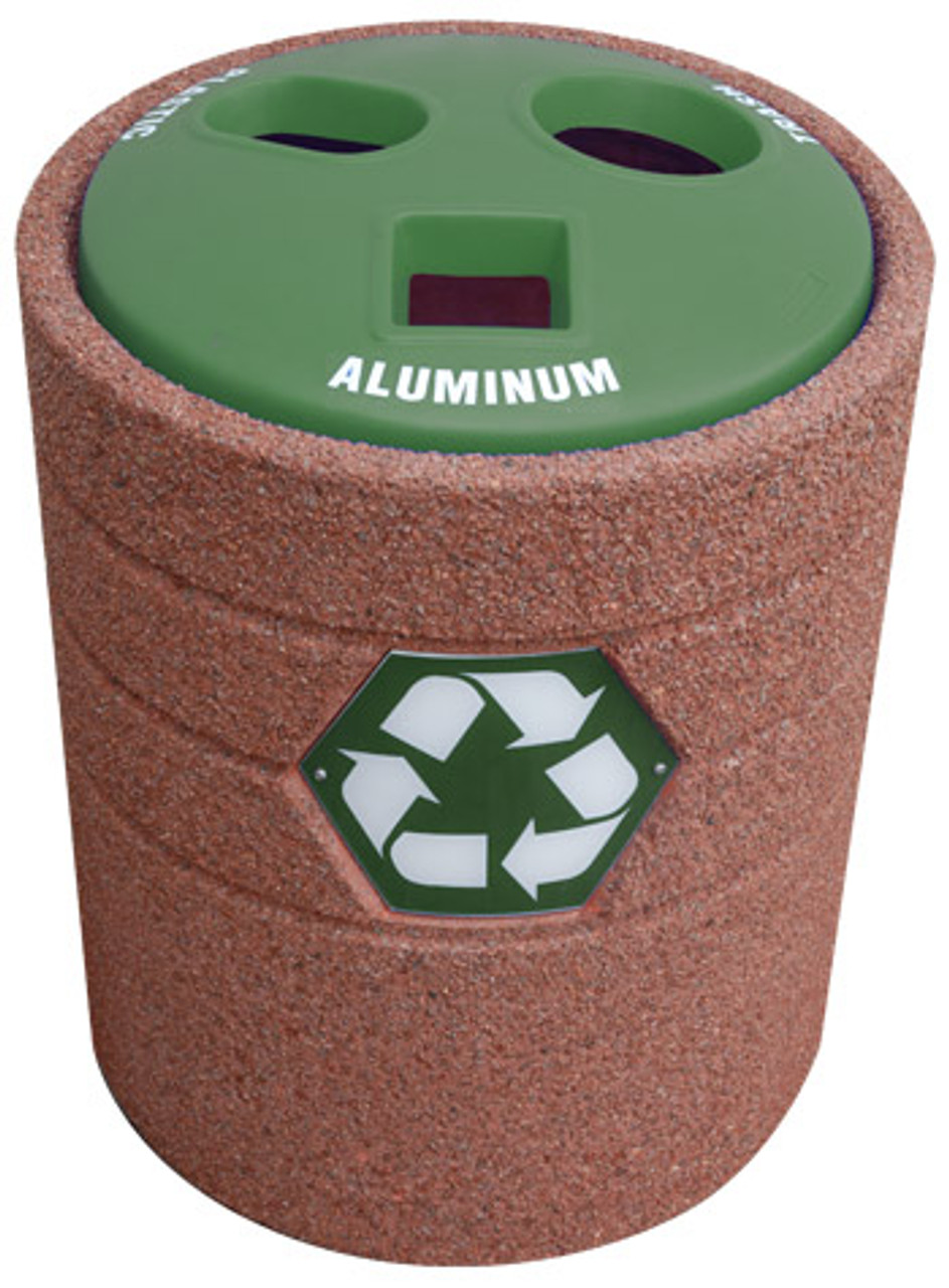 42 Gallon Concrete Recycling Top Outdoor Waste Container TF1223 with Green