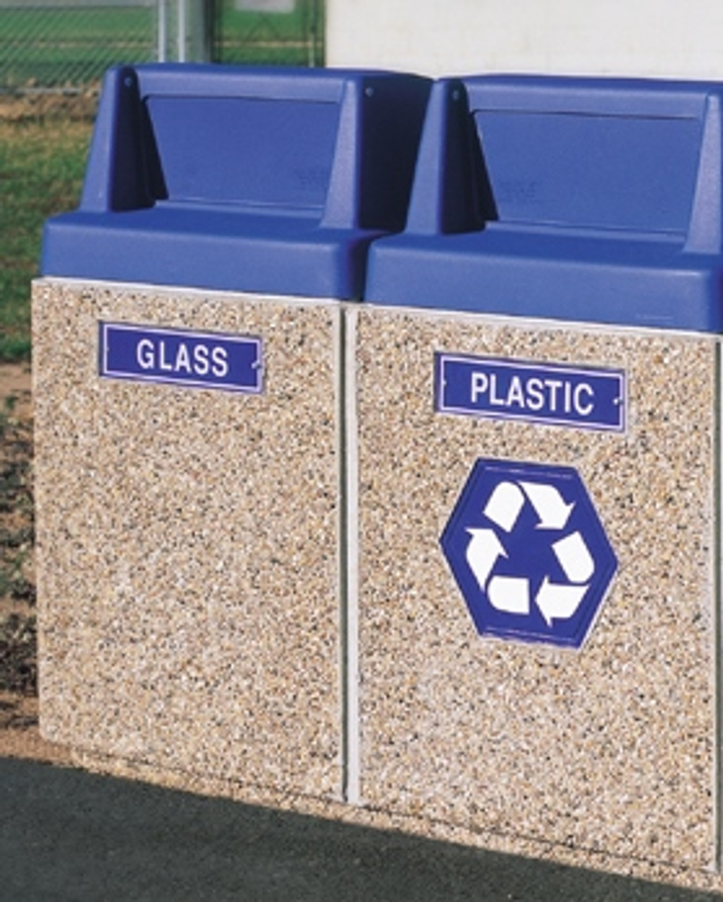 Dual Recycling Outdoor Waste Receptacle Blue Decals Exposed Misty Gray