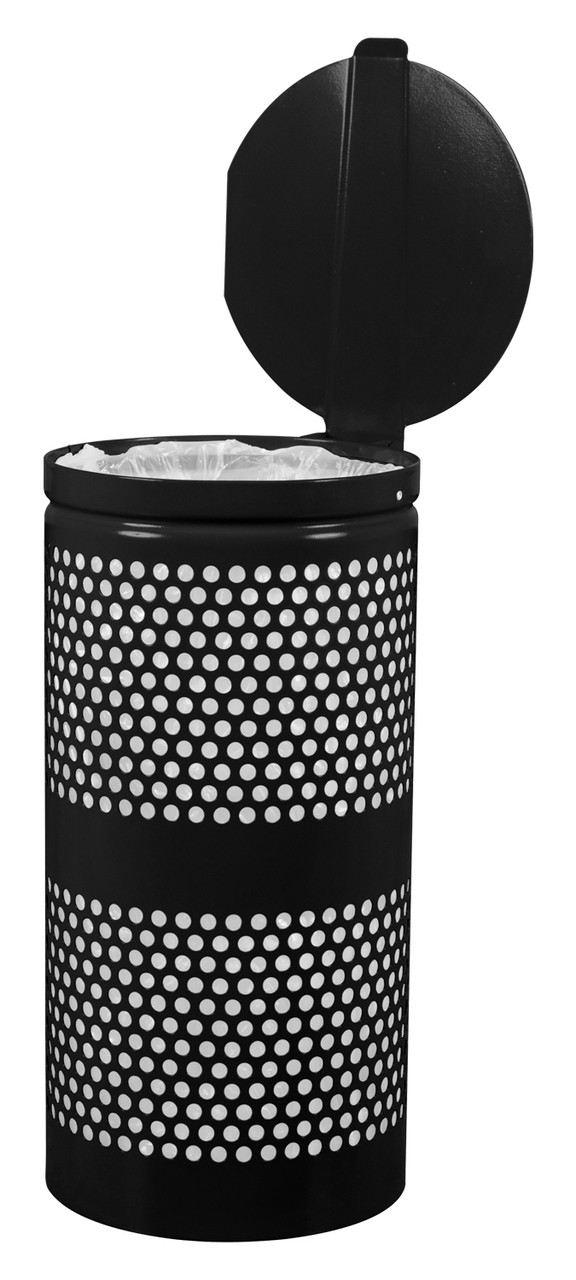Perforated Trash Can in Black Gloss
