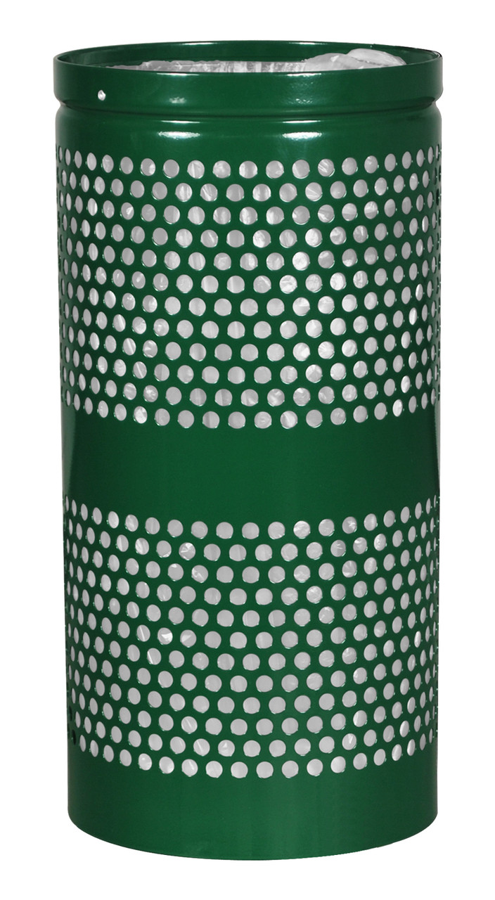 Excell Landscape Outdoor Perforated Trash Can WR22 in Hunter Green Gloss