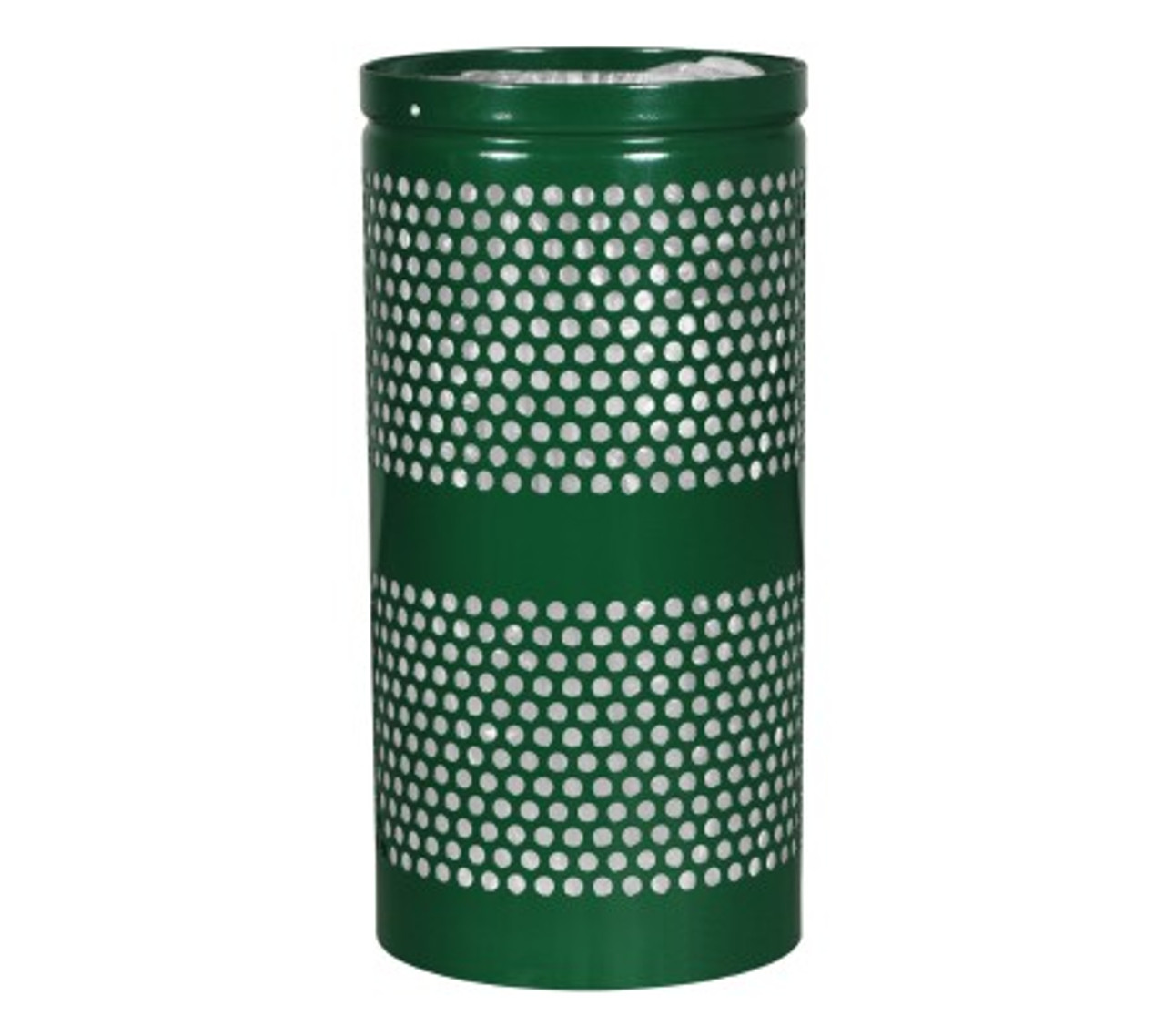 Excell Landscape Outdoor Perforated Trash Can WR34 in Hunter Green Gloss