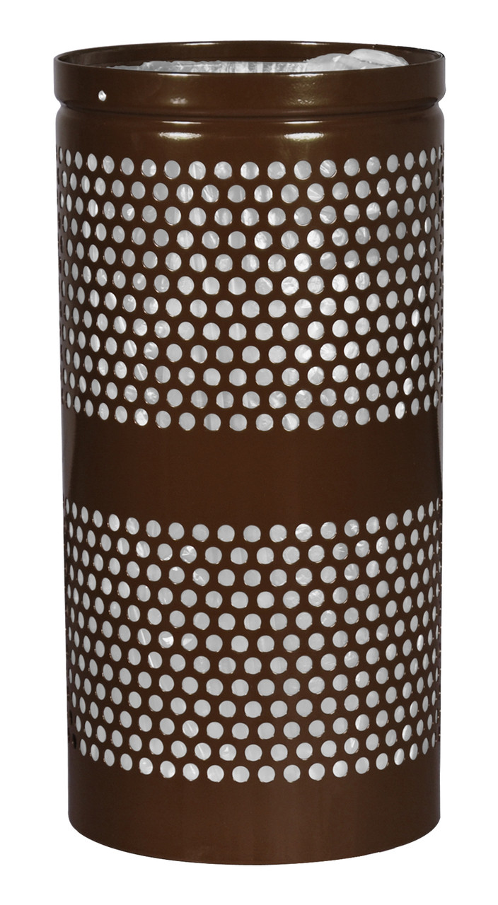 Excell Landscape Outdoor Perforated Trash Can WR34 in Coffee Gloss