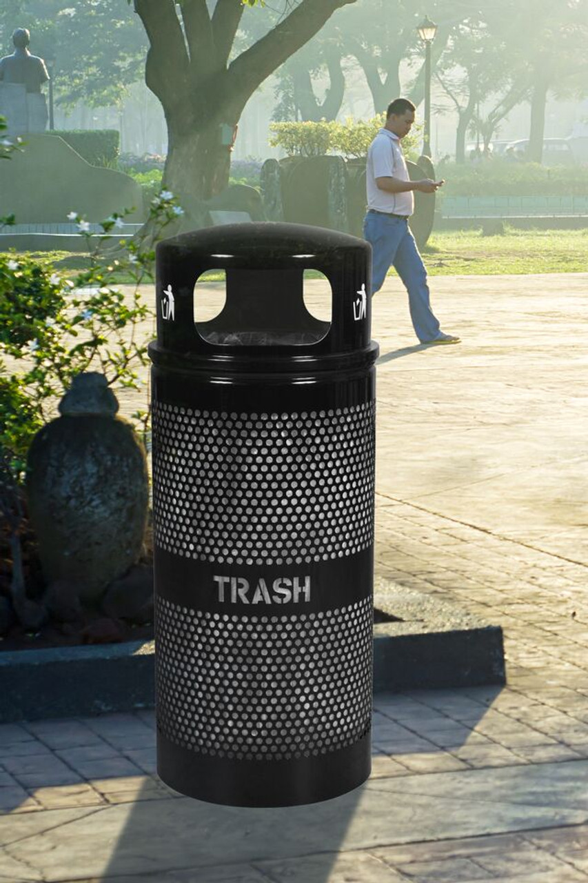 Perforated Trash Container with Dome Top Downtown