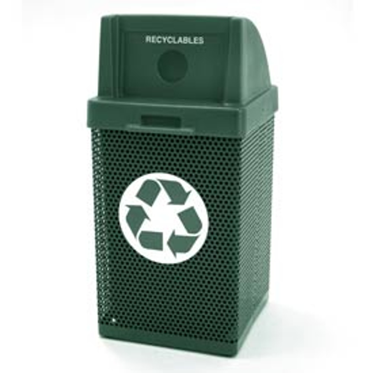 38 Gallon Metal Armor Blue Recycling Outdoor Waste Container MF3058 in Green