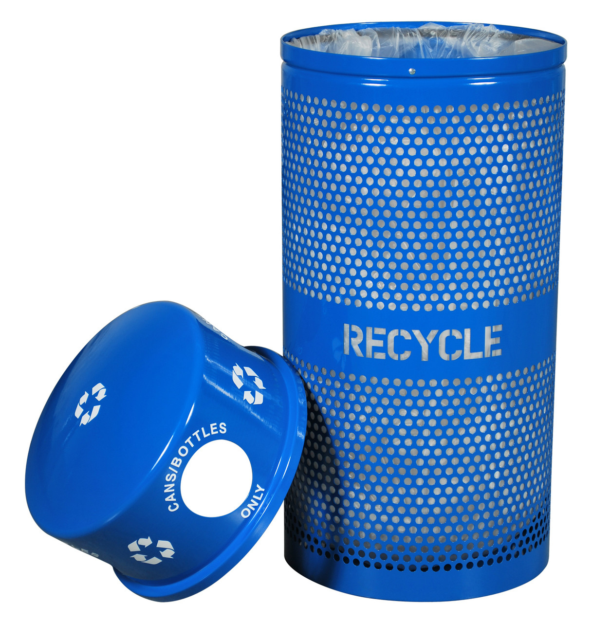Excell Perforated 34 Gallon Recycling Receptacle for Cans/Bottles with Lid Off