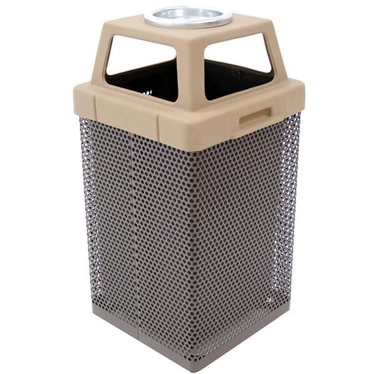 38 Gallon 4 Way Open Top Lid Outdoor Ash Trash Container MF3054