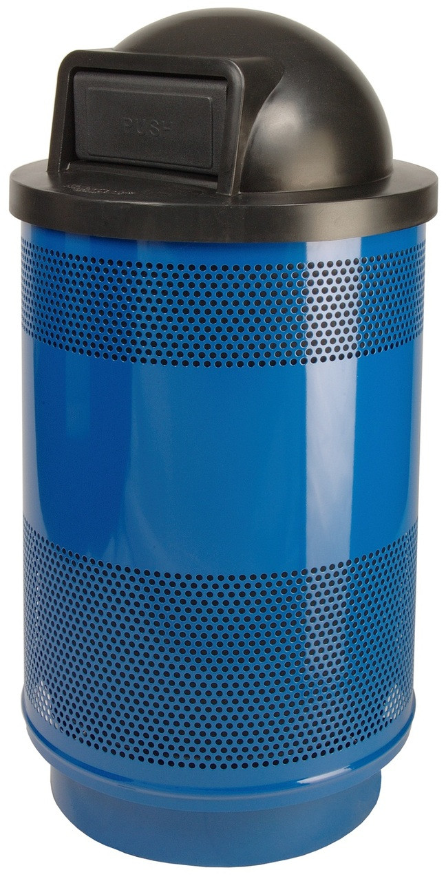 Stadium Series 55 Gallon Painted Stainless Steel Trash Container Dome Top