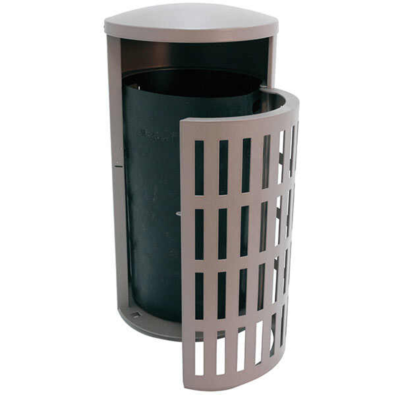 41 Gallon Metal Armor Outdoor Waste Receptacle MF3302 with Side Door & Concrete Base