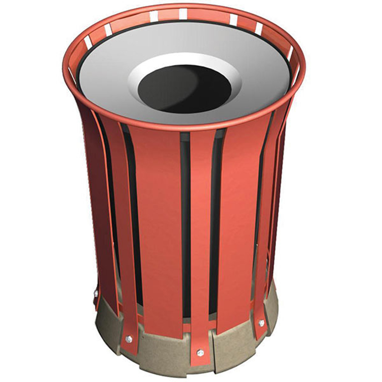 31 Gallon Steel Outdoor Trash Can with Concrete Base WS302