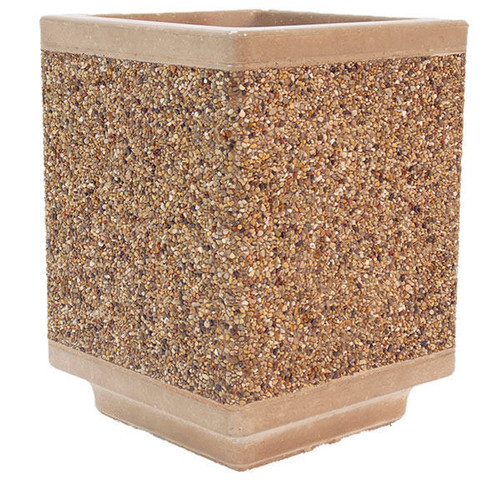 Outdoor Square Concrete Planter TF4185 Exposed Aggregate